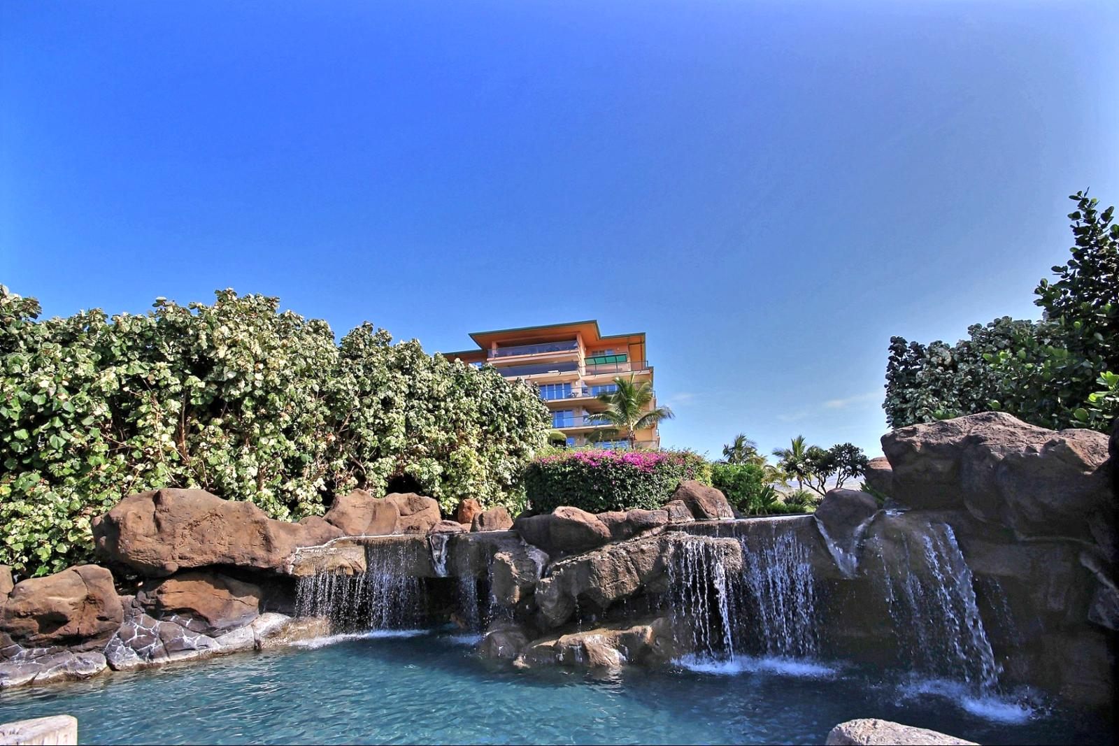 The middle pool with waterfalls is perfect for relaxing with the family