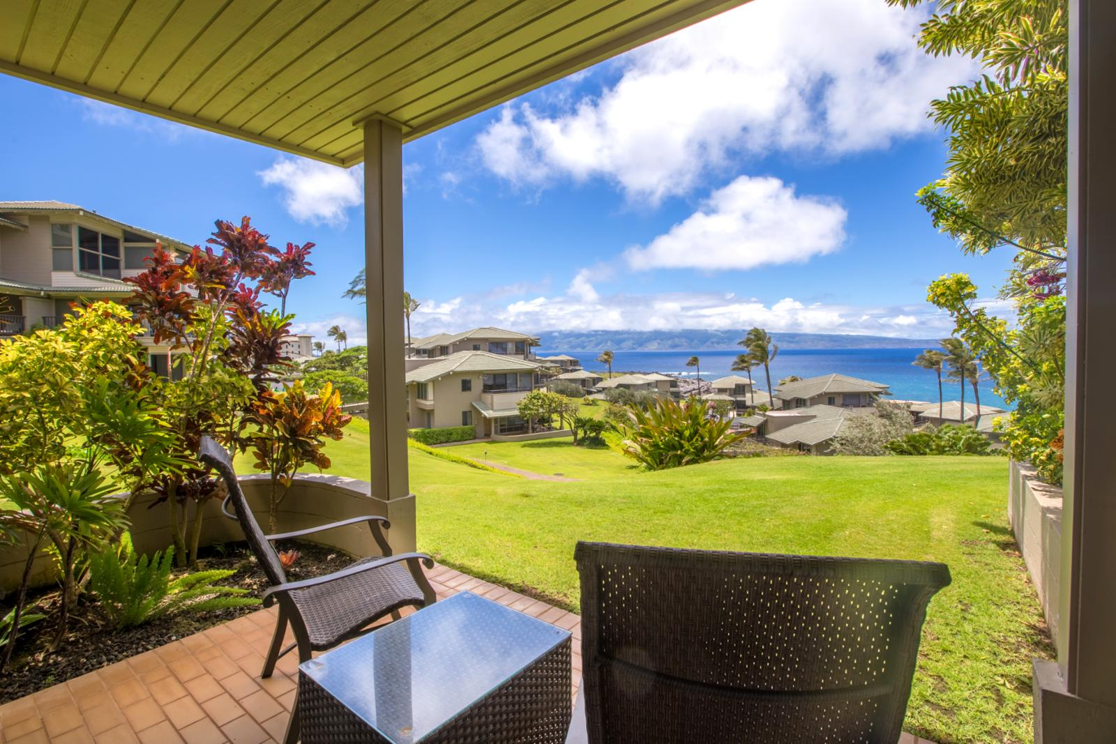 View off the private master lanai just steps to the pool!