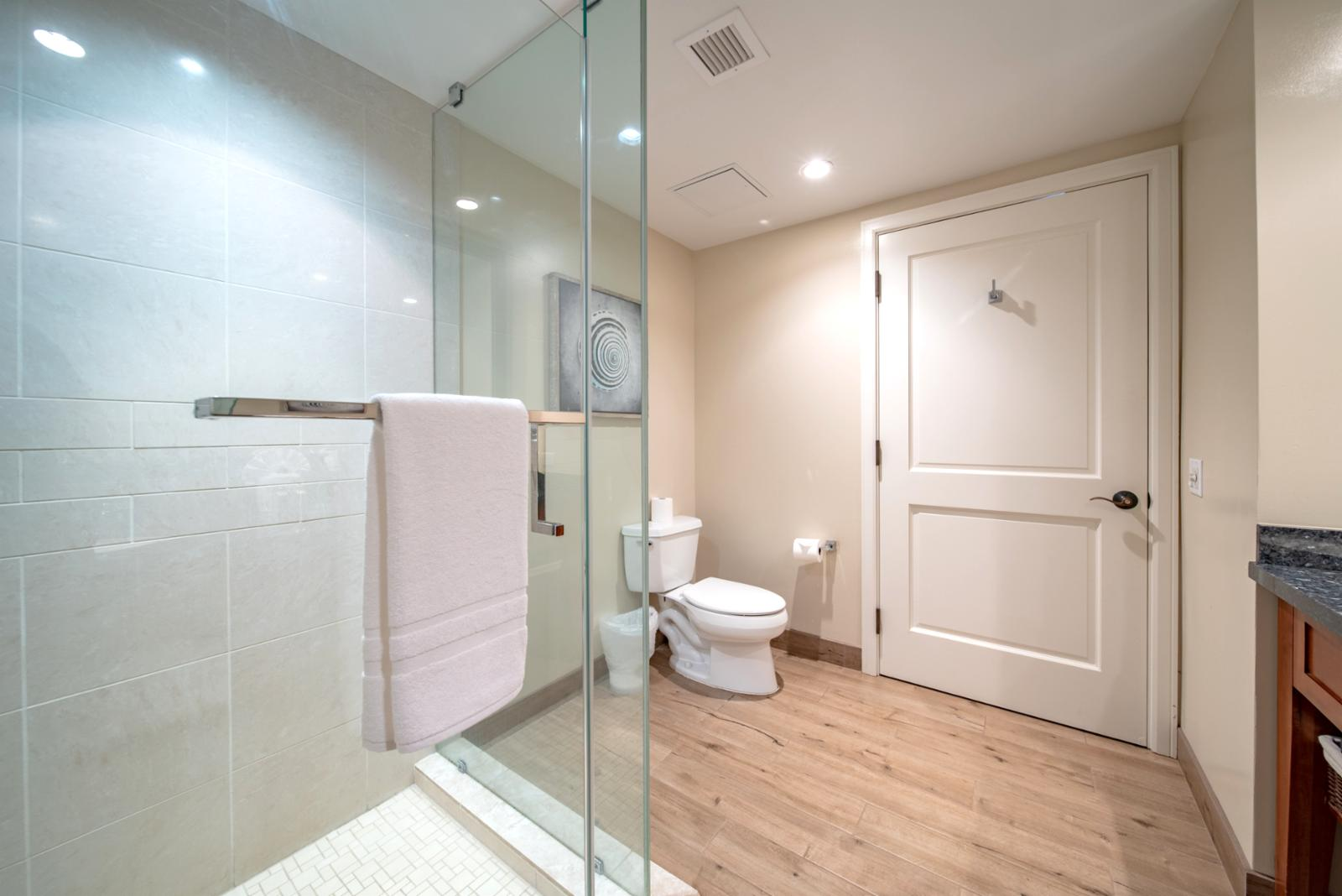 Floor to ceiling glass enclosed shower and plenty of additional space for families