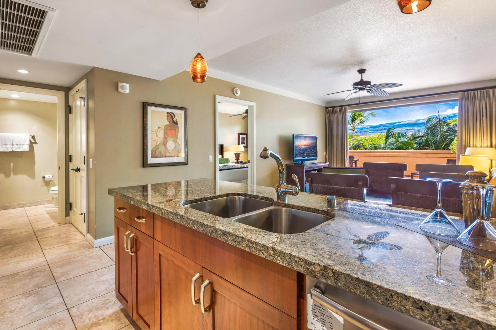 Custom marble countertops complete with West Maui Mountain views
