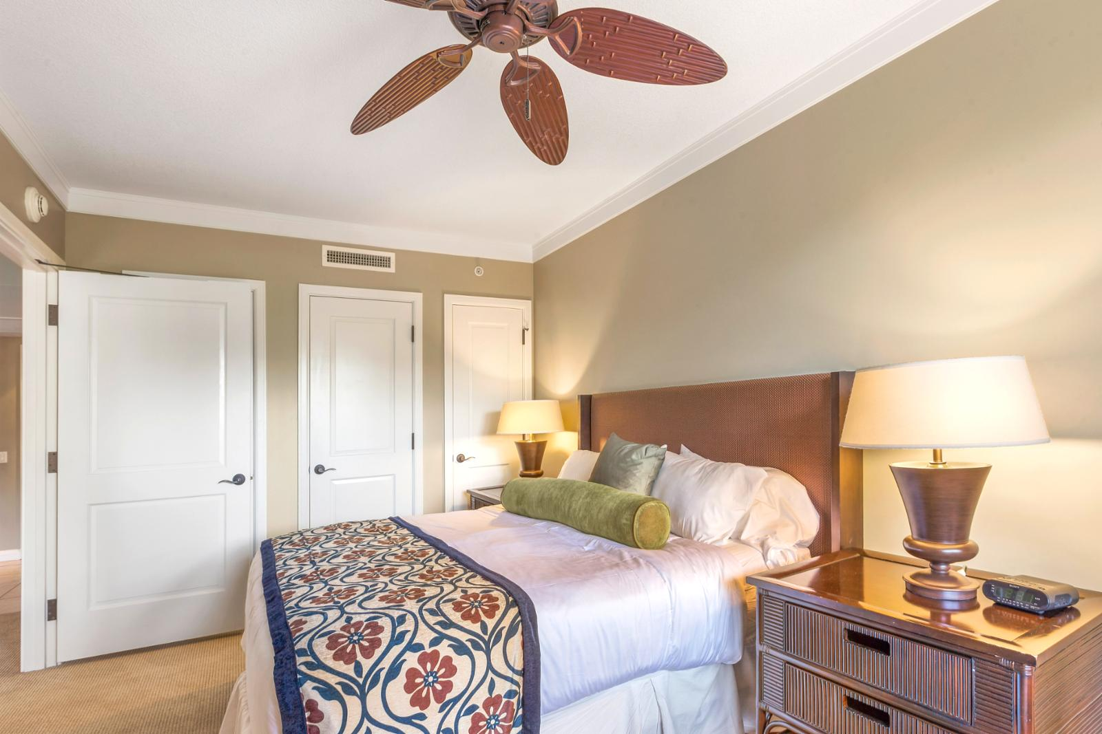 Reverse angle showing ceiling fan and additional storage as needed
