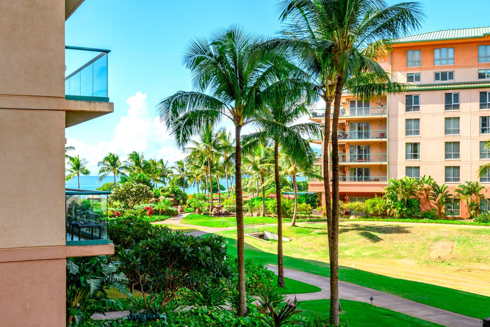 Partial ocean views from the lanai of Honua Kai unit Hokulani 238