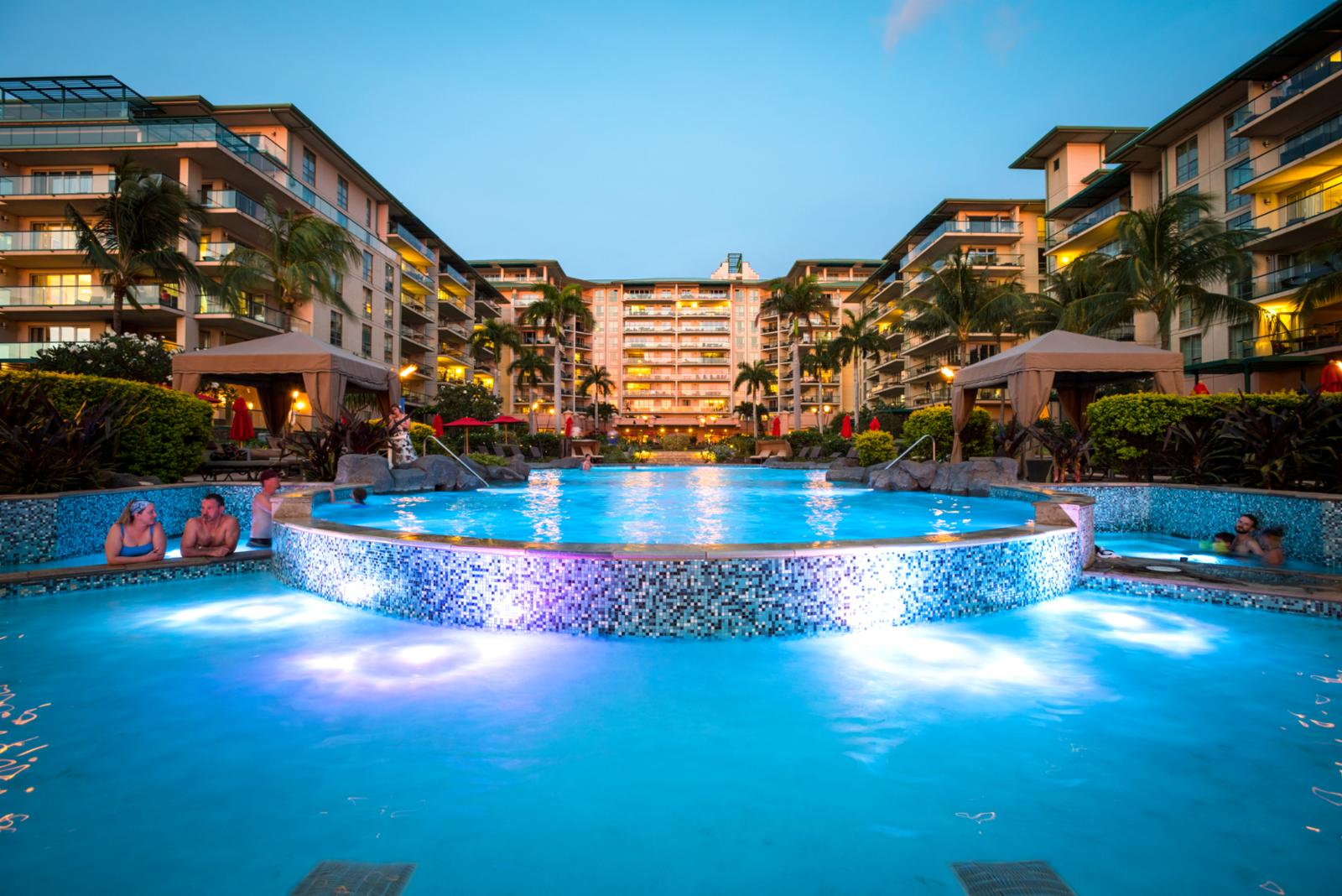 Honua Kai pool at night, lights up for a quick night dip in the pool!