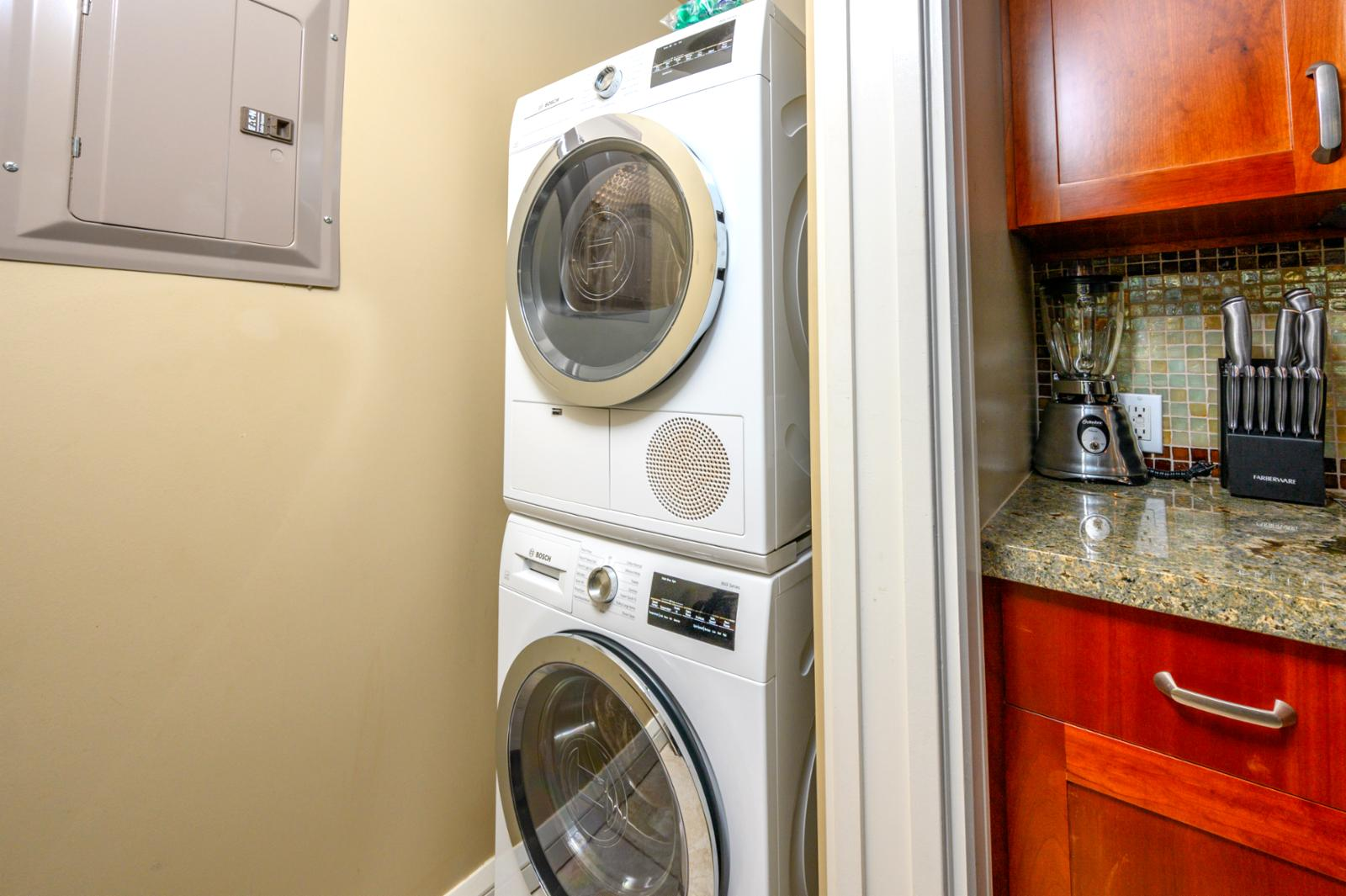 Washer and dryer in unit ready for use