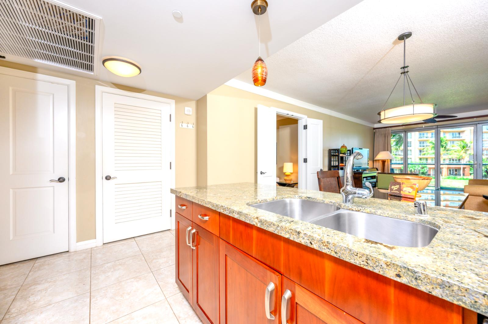 Large gourmet kitchen with dual sink and full size bosch dishwasher for easy clean up.