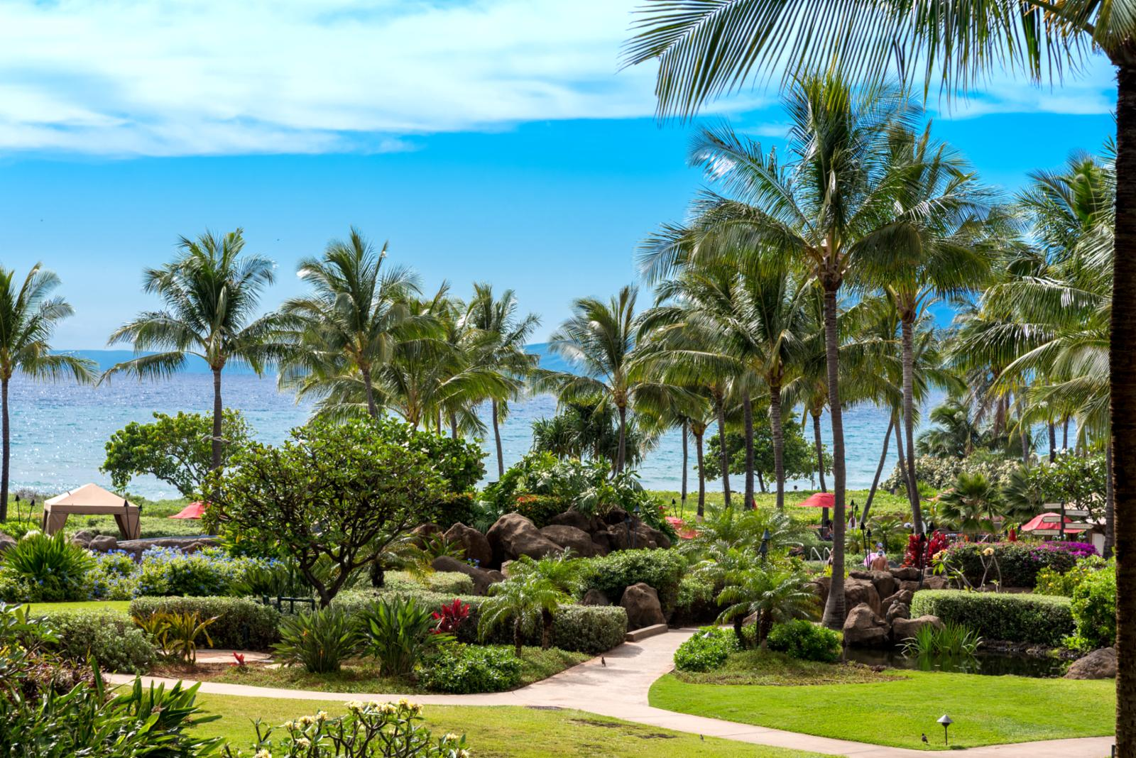 Enjoy ocean views from the lanai with soothing trade wind breezes.