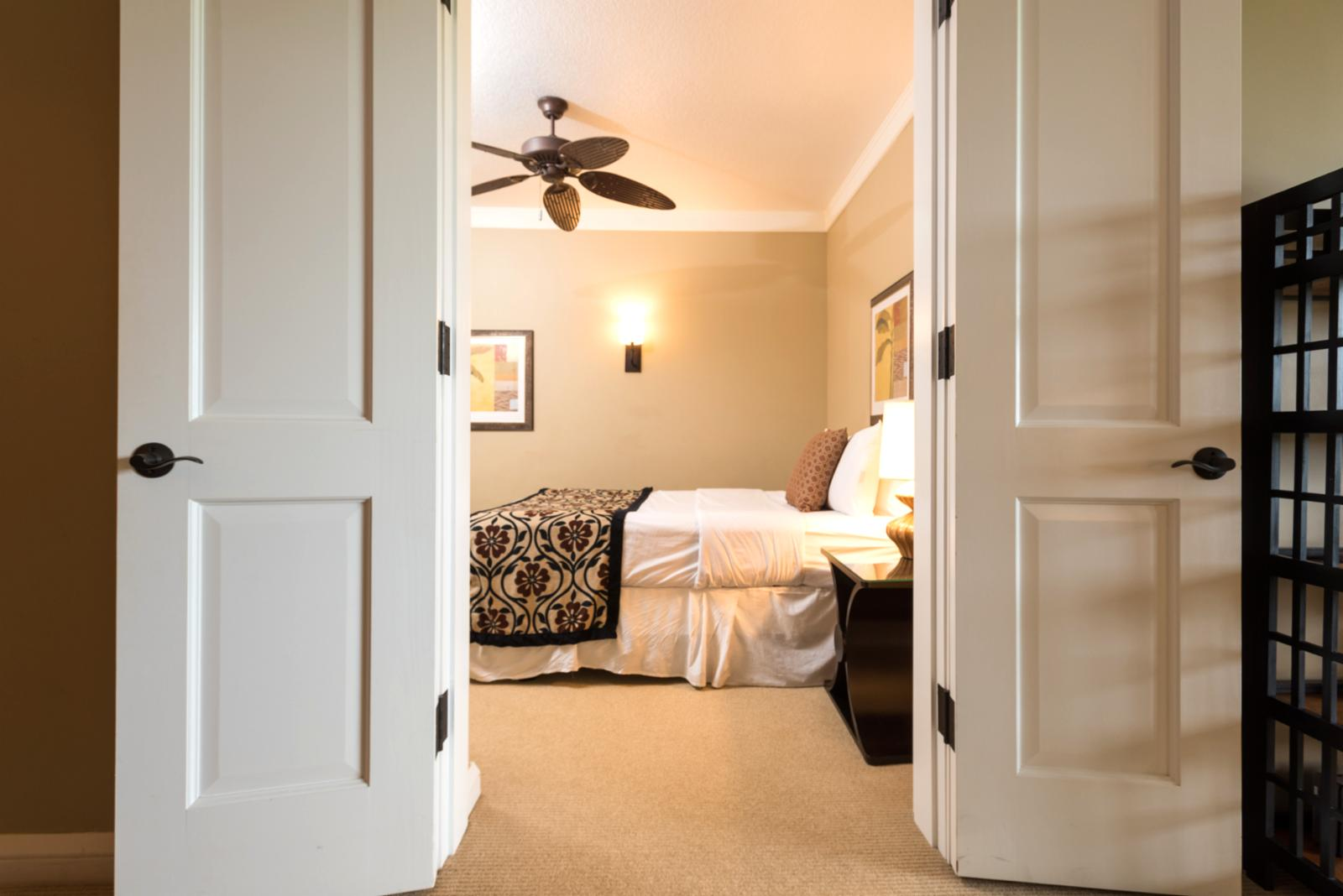 Entryway of den bedroom - both doors open.