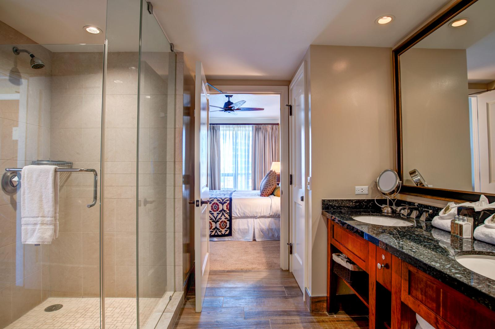 Glass enclosed shower and adjacent soaking tub