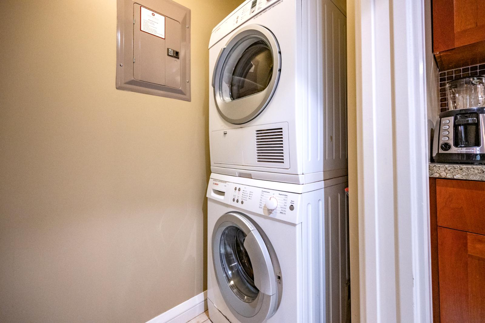 """Bosch Washer and dryer available for your use. Along with """"HE"""" detergent."""
