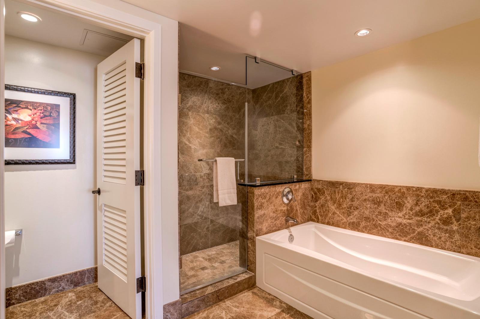 Oversized layout with glass enclosed shower and tub combination