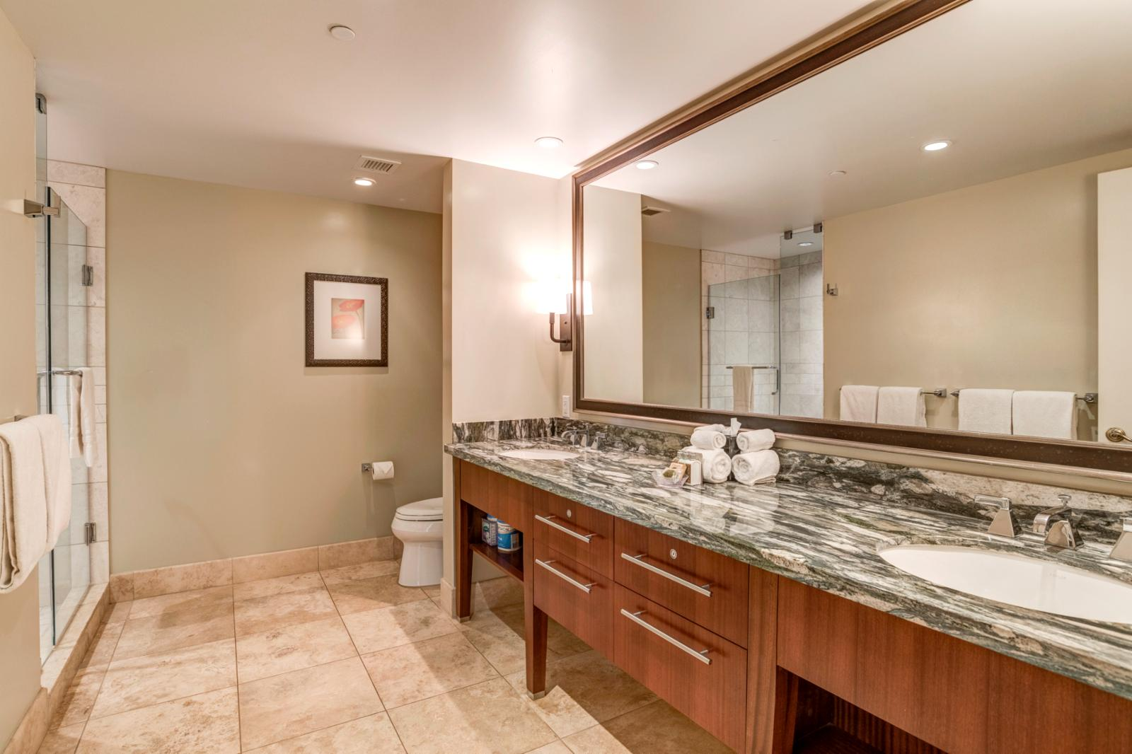 Large guest bath, dual sinks, and upgraded lighting
