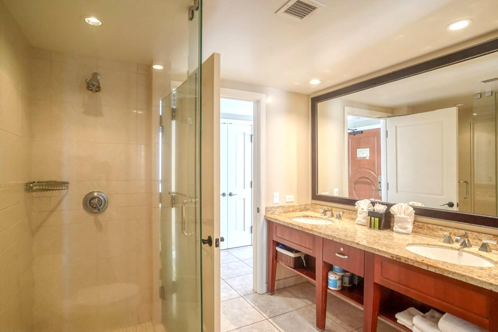 Floor to ceiling, glass enclosed shower
