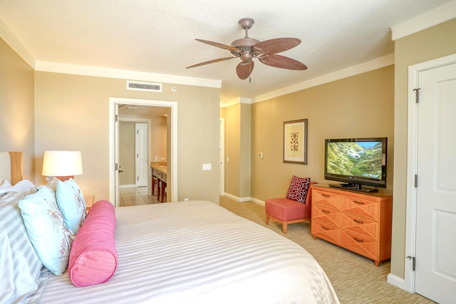 Large flat screen television and ceiling fans