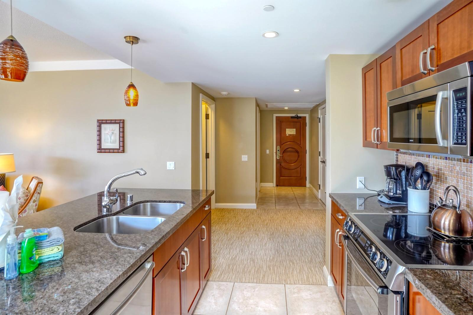 Custom countertops and accent lighting