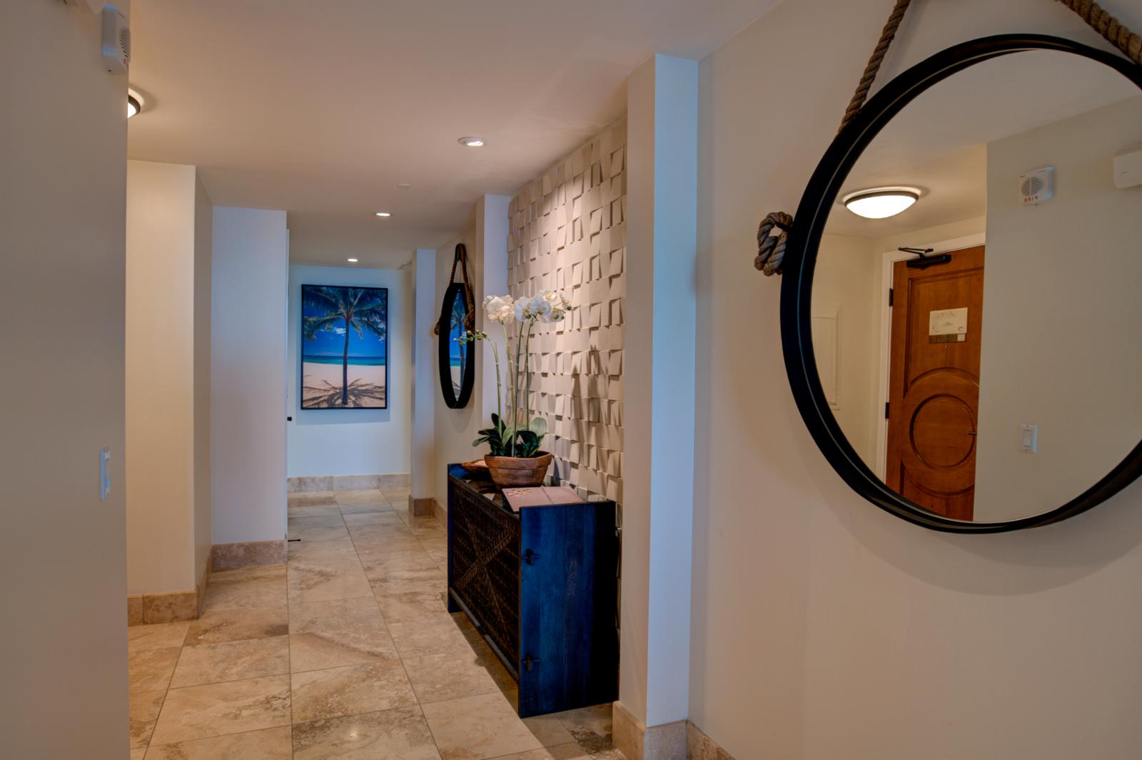 New custom entry features with tropical touches throughout
