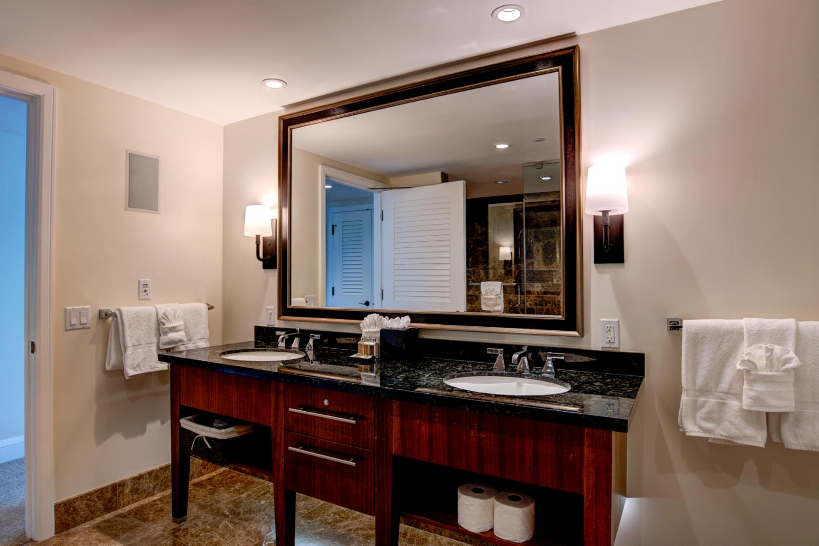 Custom dual sinks with ample storage and dual sinks