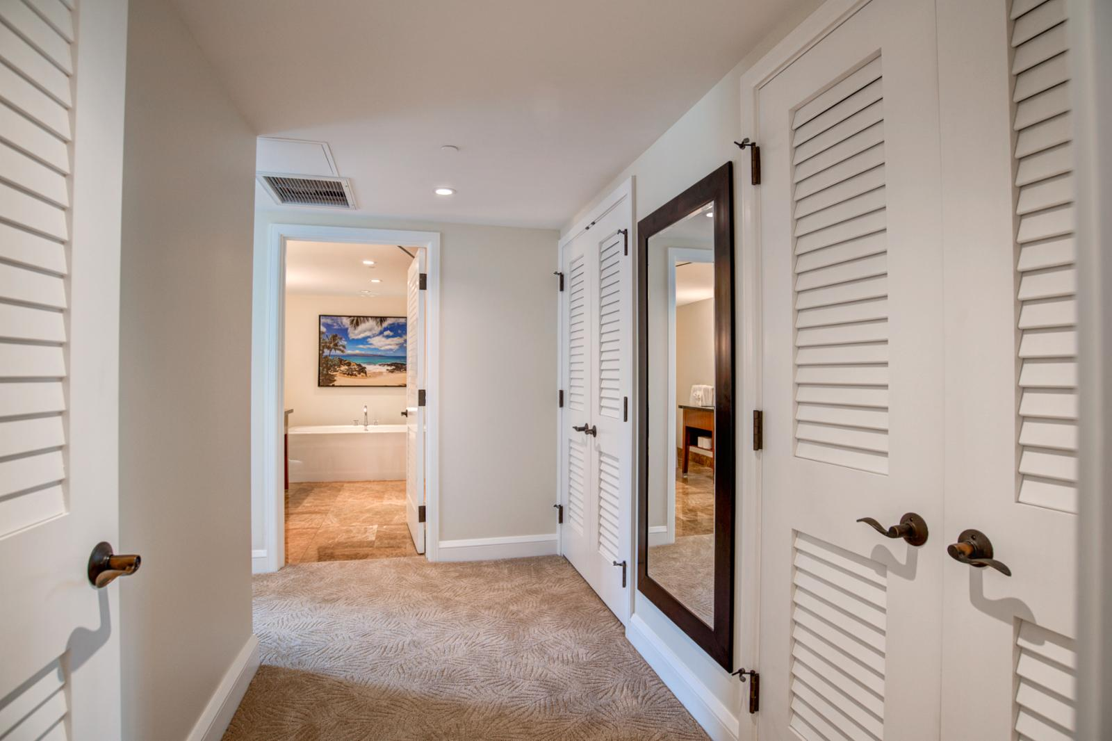 Private entry with ample storage within the master suite