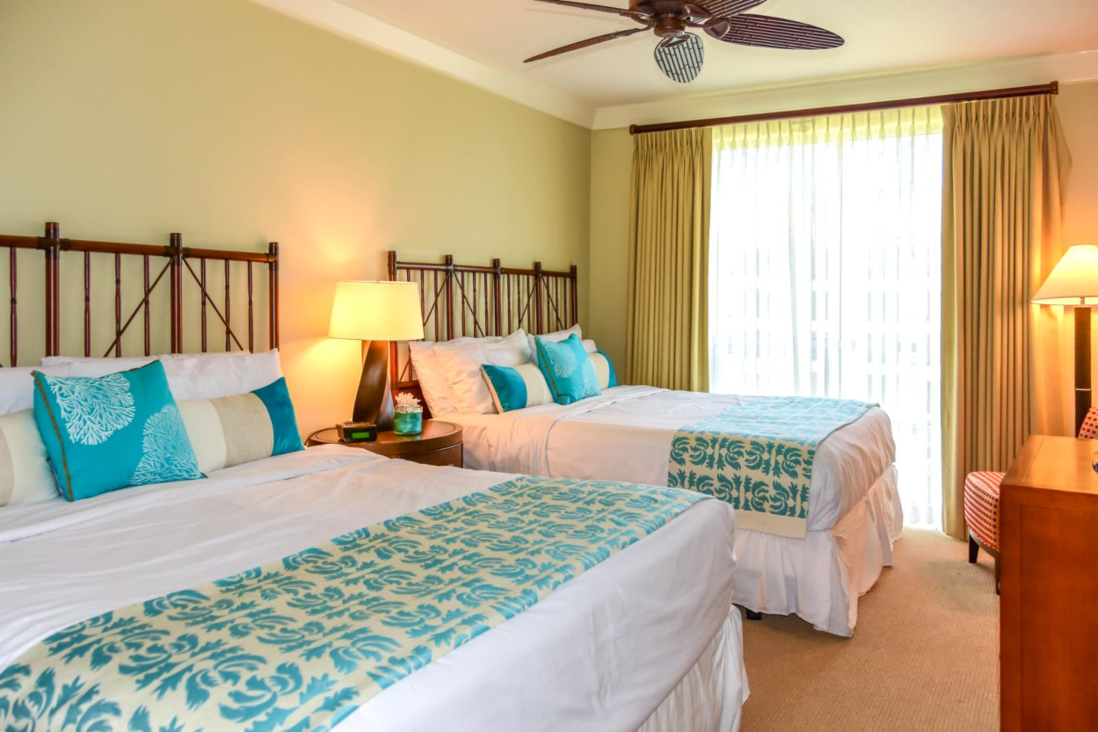 Equipped with ceiling fans perfect for ocean breezes