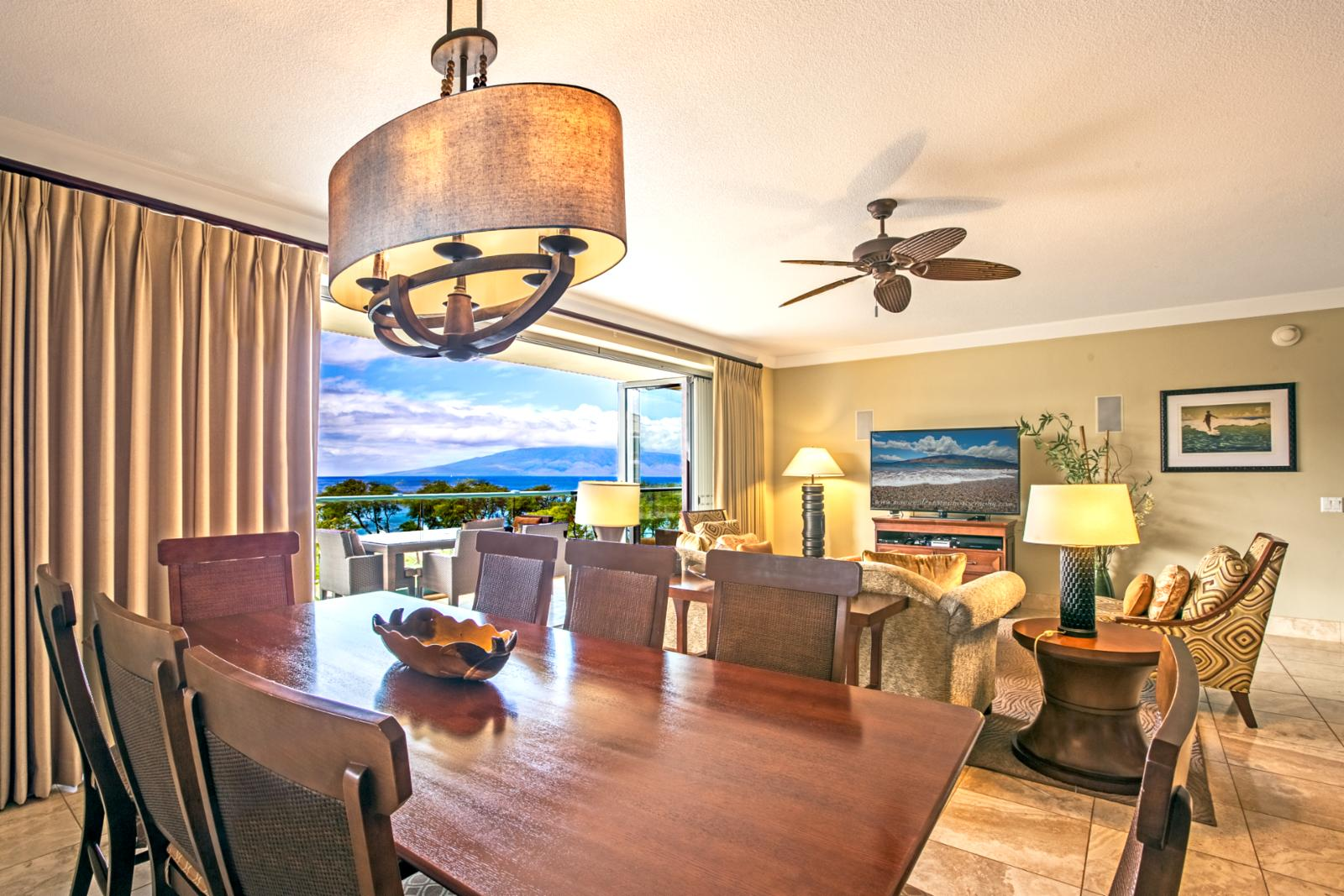 Reverse angle showing ocean views from formal dining area