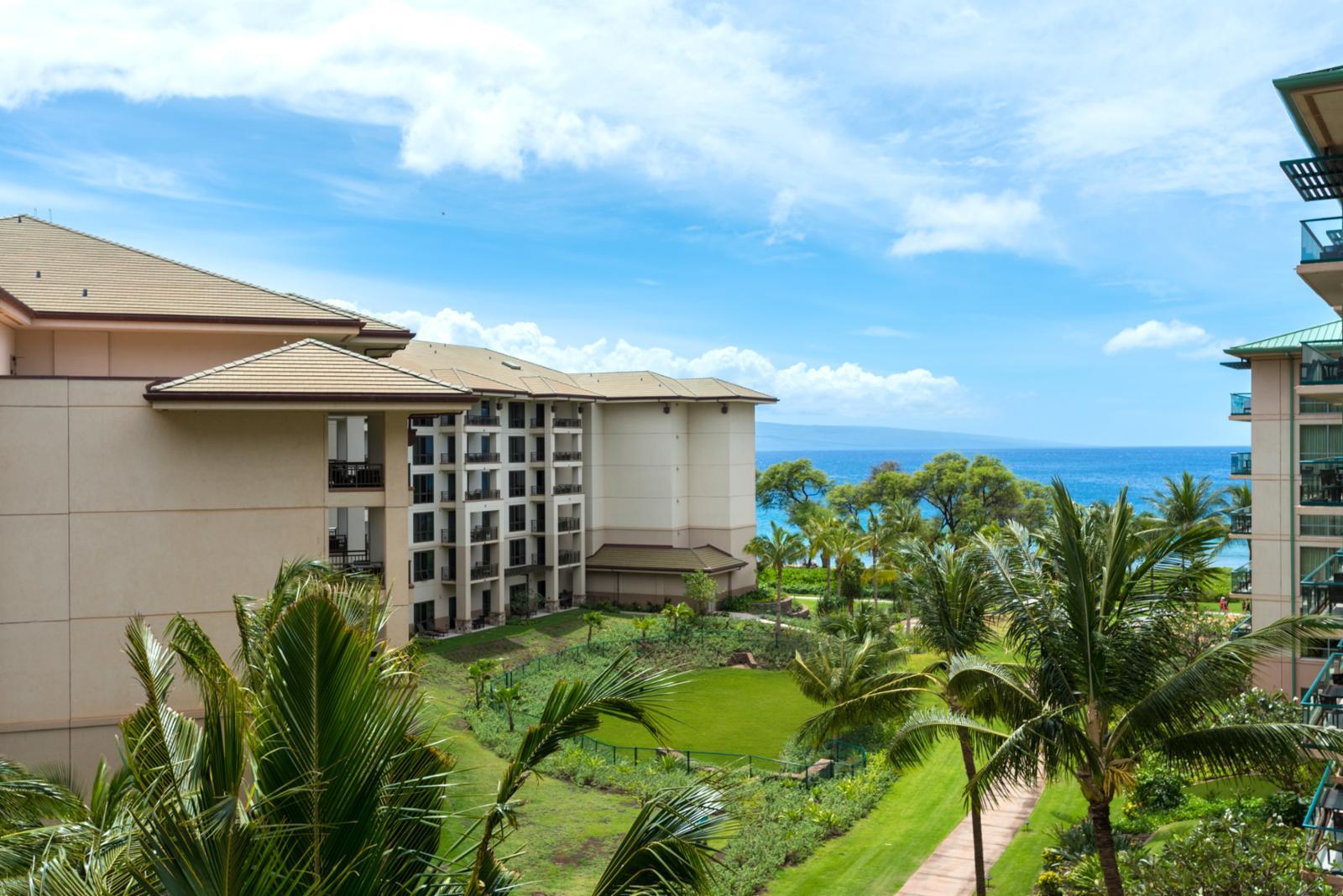 Luscious garden and ocean views for your backdrop