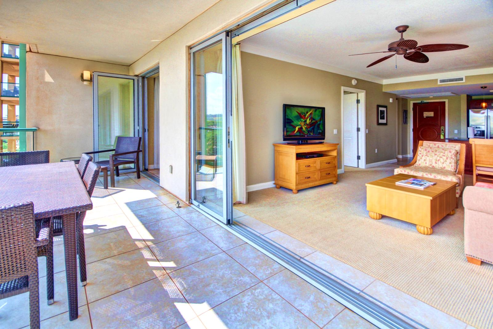 Lanai has NANO doors that can be opened and slid to really bring that outdoor living in.