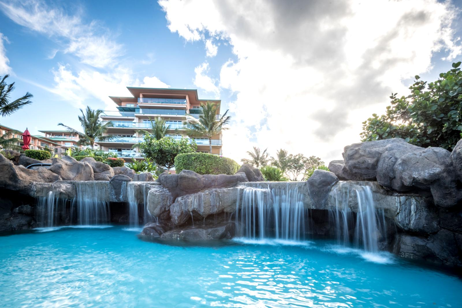 Luxury waterfall to swim through, perfect for relaxation