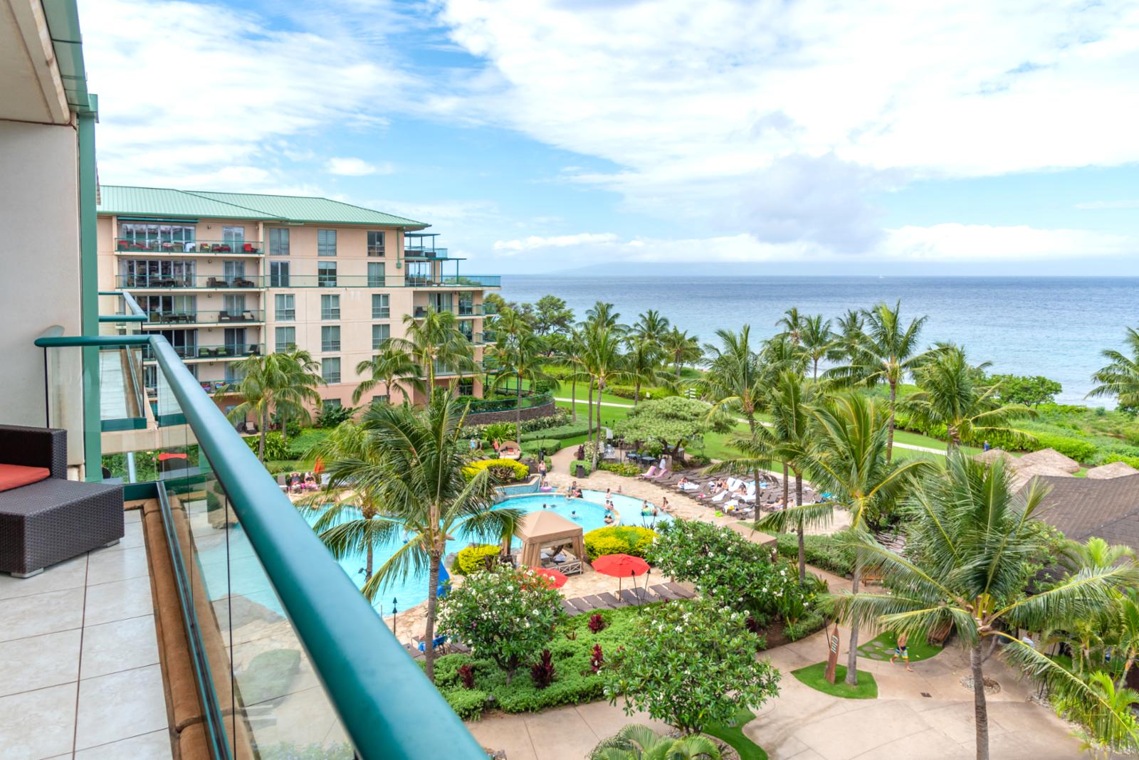 View of the island of Lanai to the left side of balcony