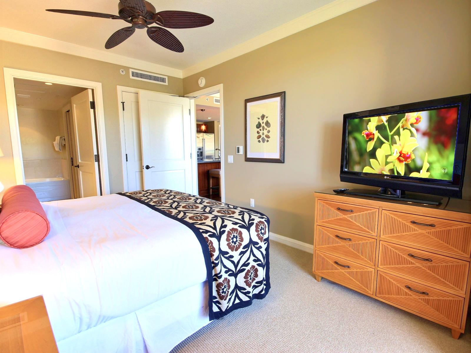 Large bedroom with LG Flatscreen TV.