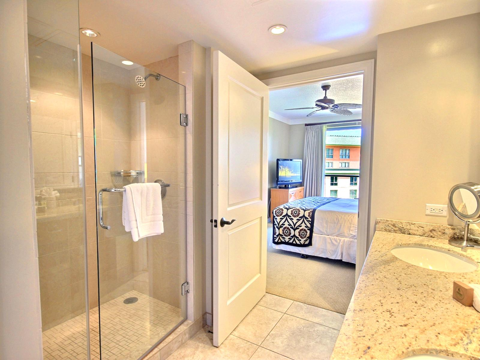Large master bathroom with separate shower and bathtub.