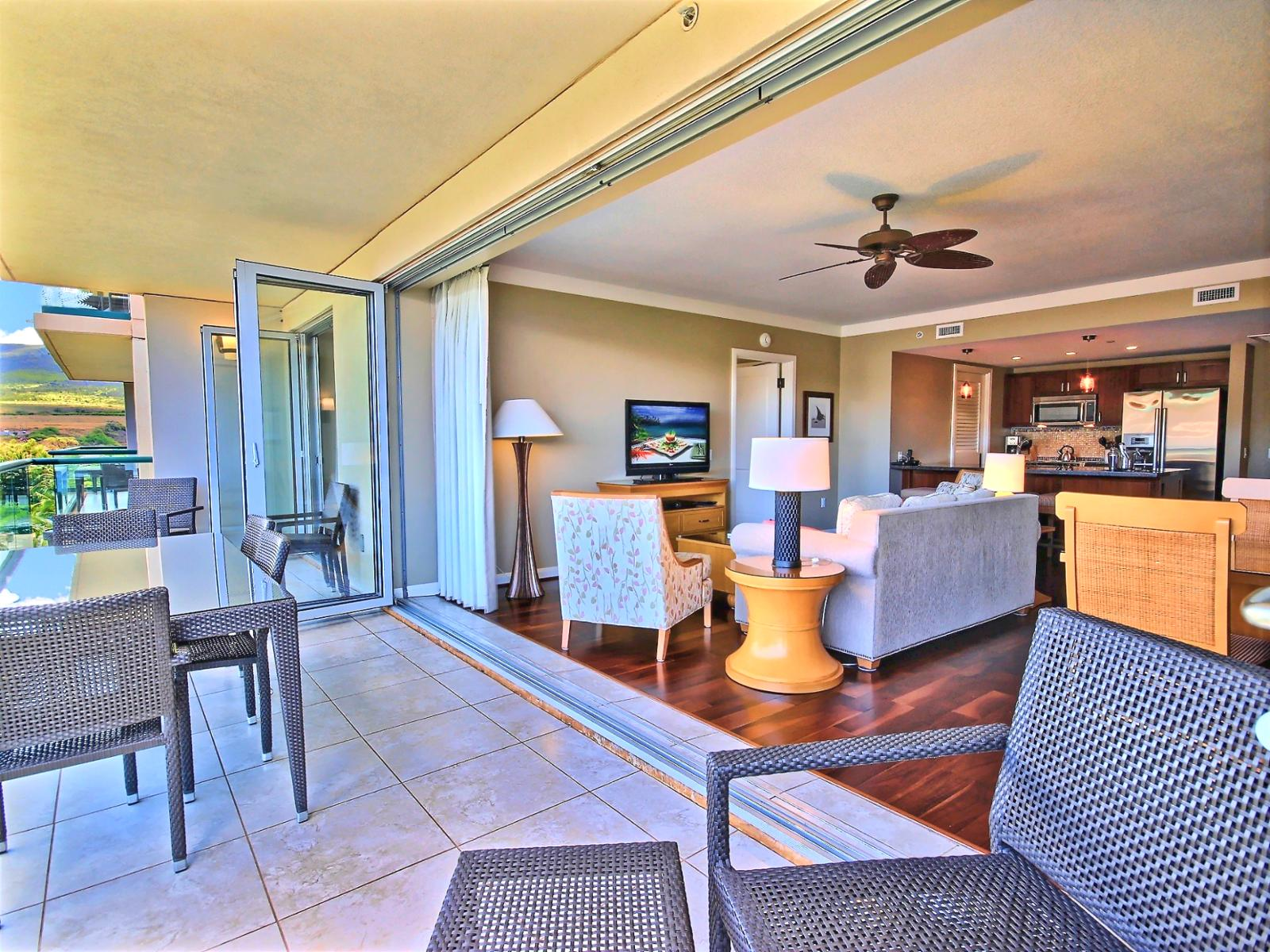 Looking back in from the lanai to the spacious living room. Great indoor/outdoor feel.