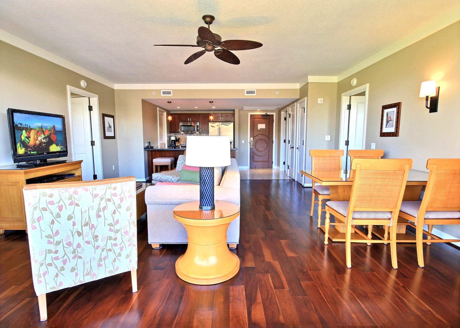 Large living space with dining room table and plenty of room for the whole family to enjoy.
