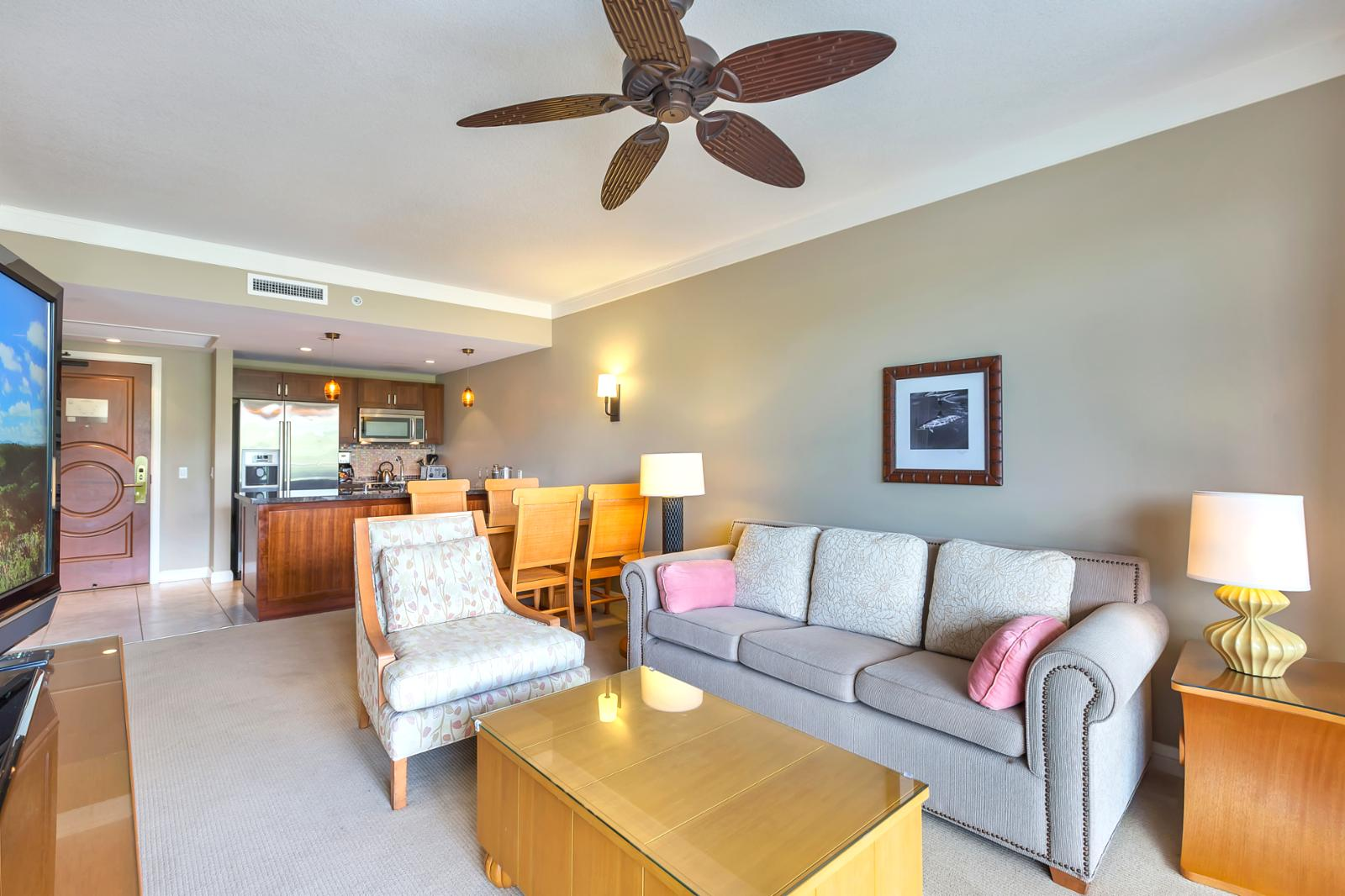 Comfortable ceiling fans open breezy floorplan