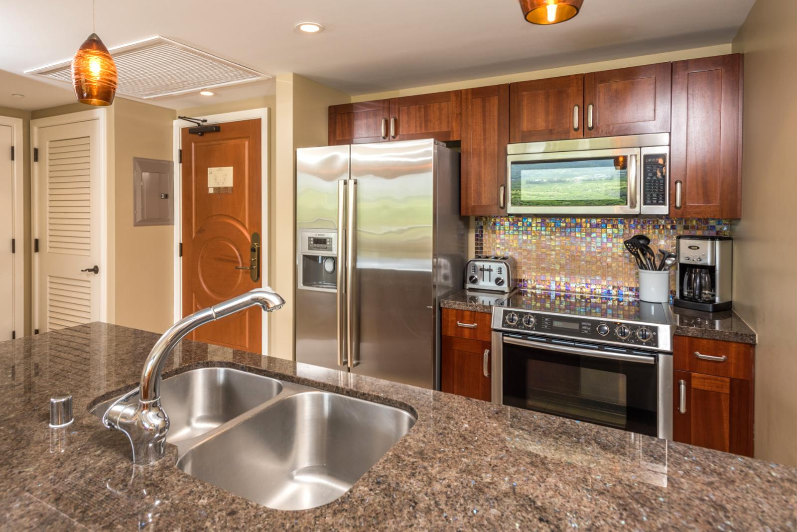 Chefs kitchen stainless appliances