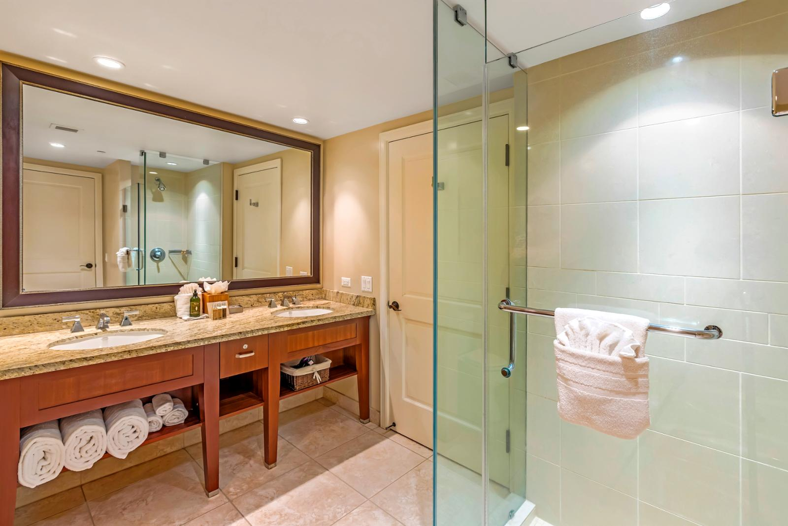 Master Bathroom with his and her sinks, walk in shower