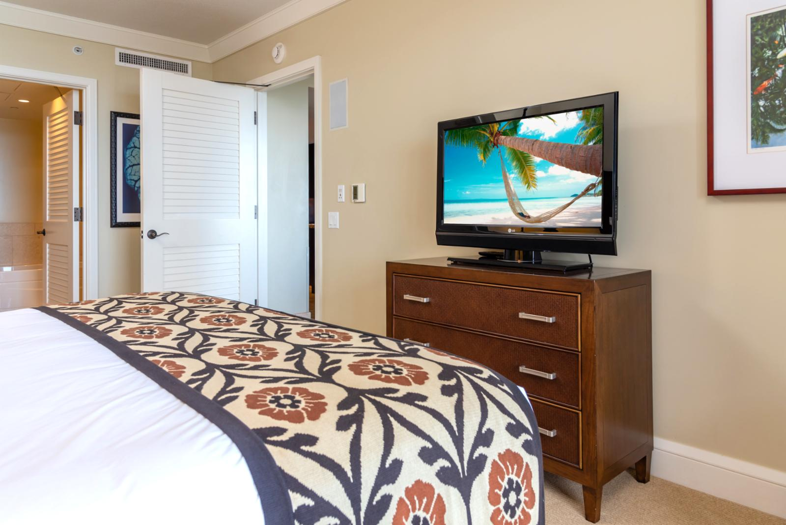 Large flat screen television in each suite