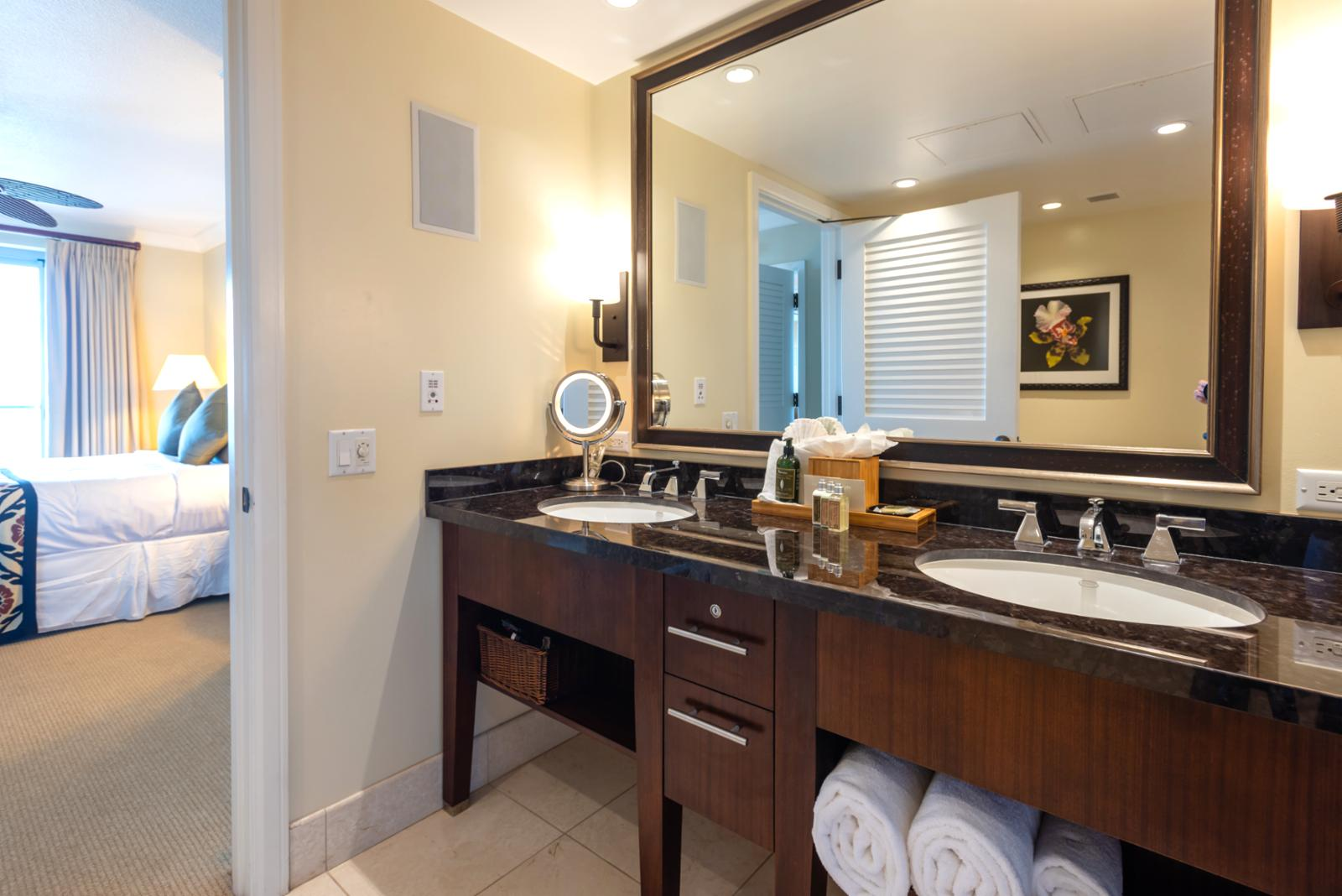Oversized mirror and dual sink combination complete with amenities