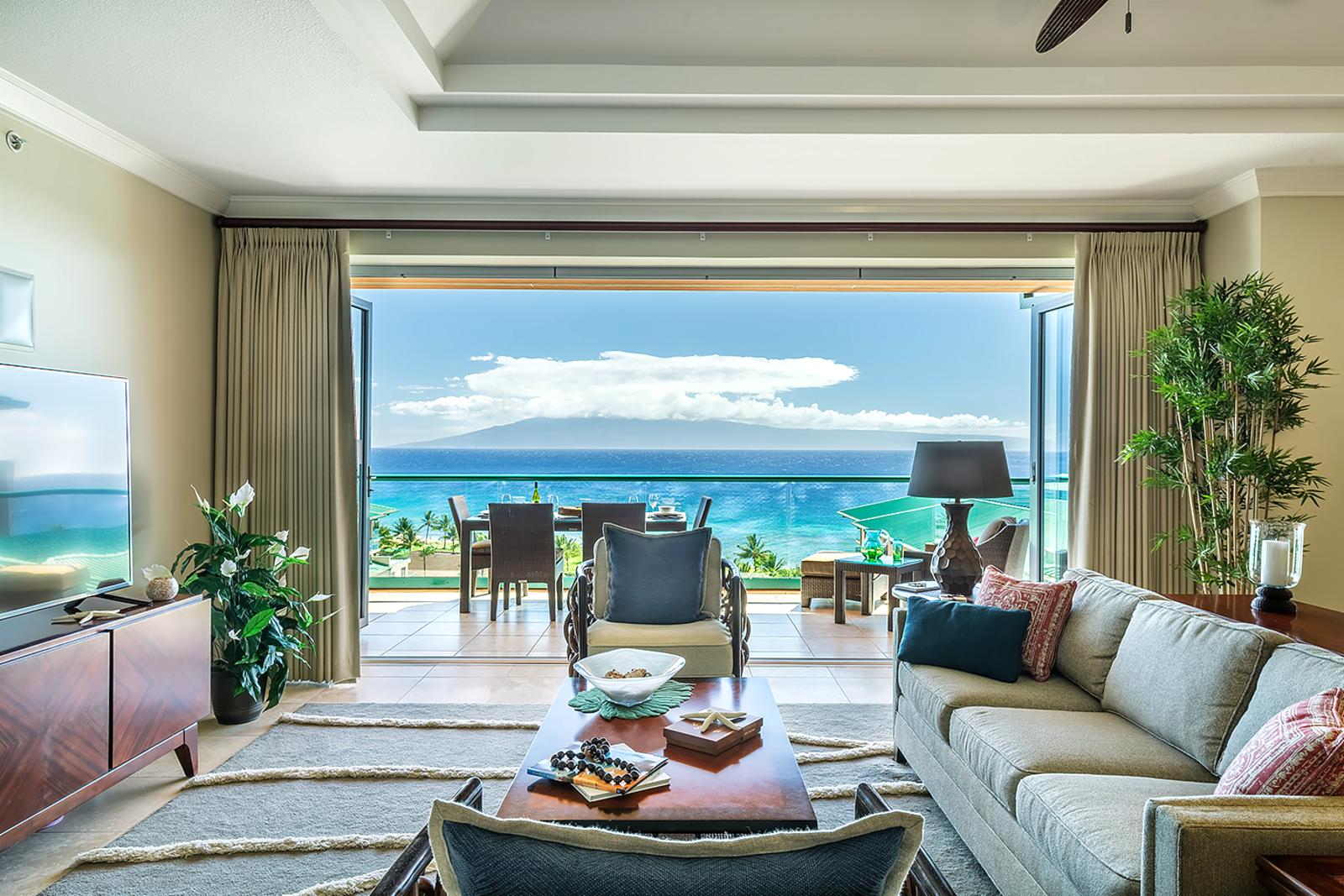 From the living room enjoy endless Lanai Island and ocean views.