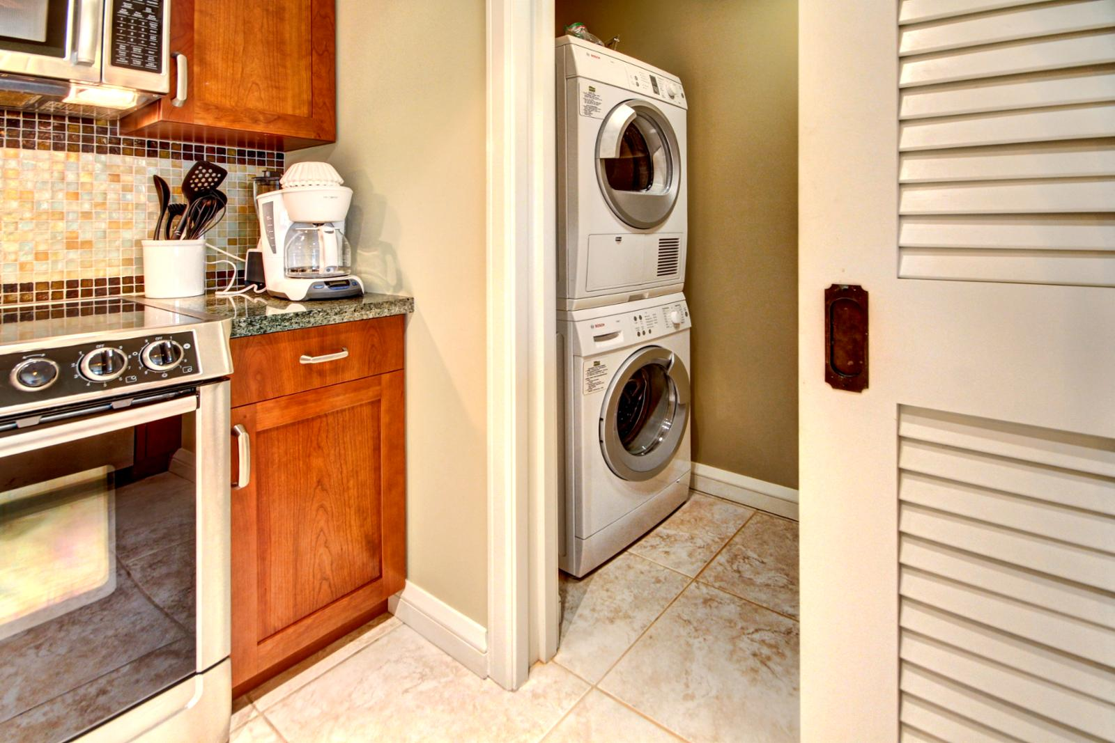 Washer and Dryer in the unit for your use. Keep in mind dryers at Honua Kai Resort are ventless.