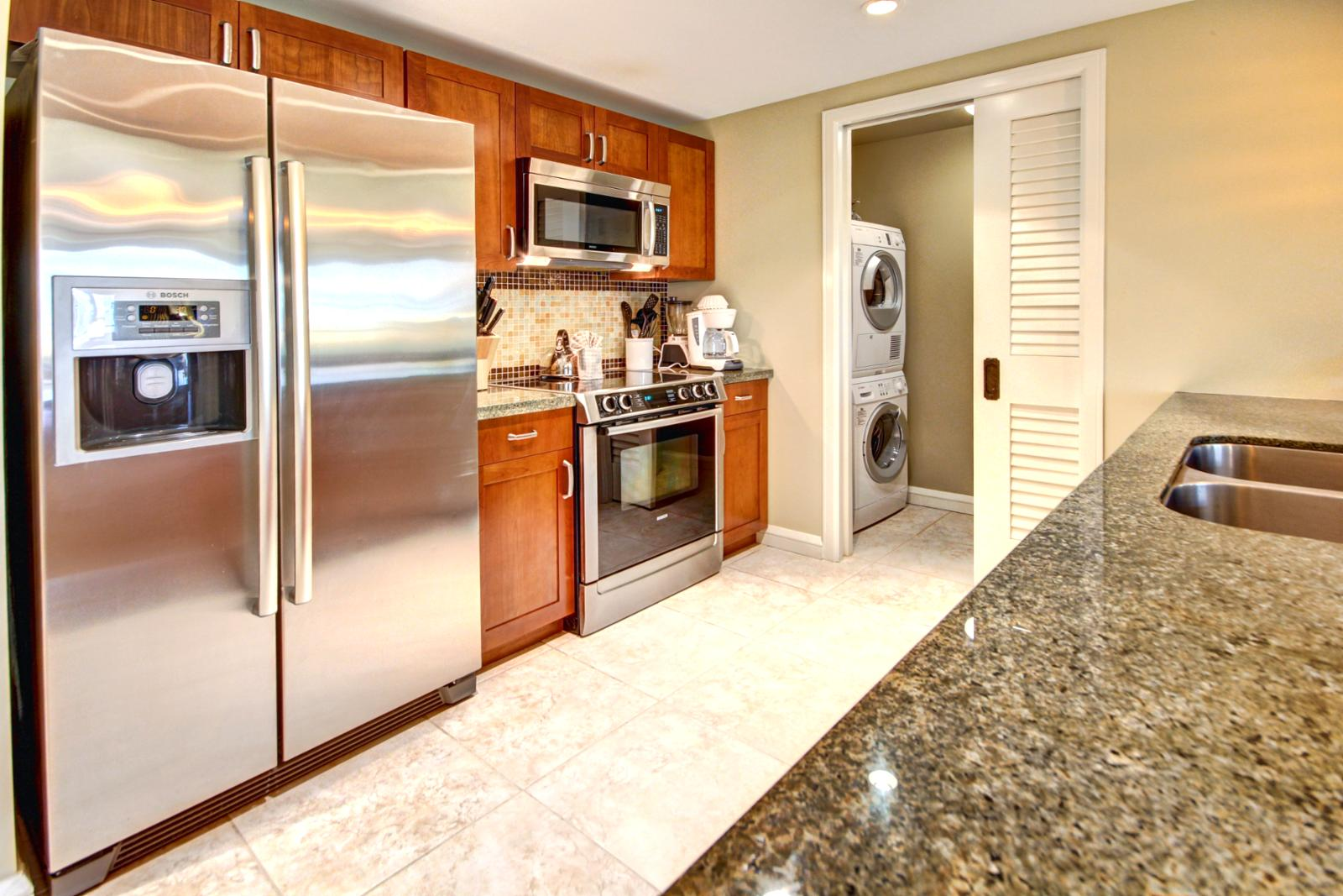Large gourmet kitchen with full size Bosch appliances.