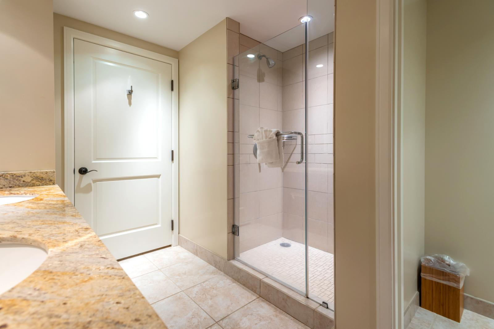 Floor to ceiling glass shower