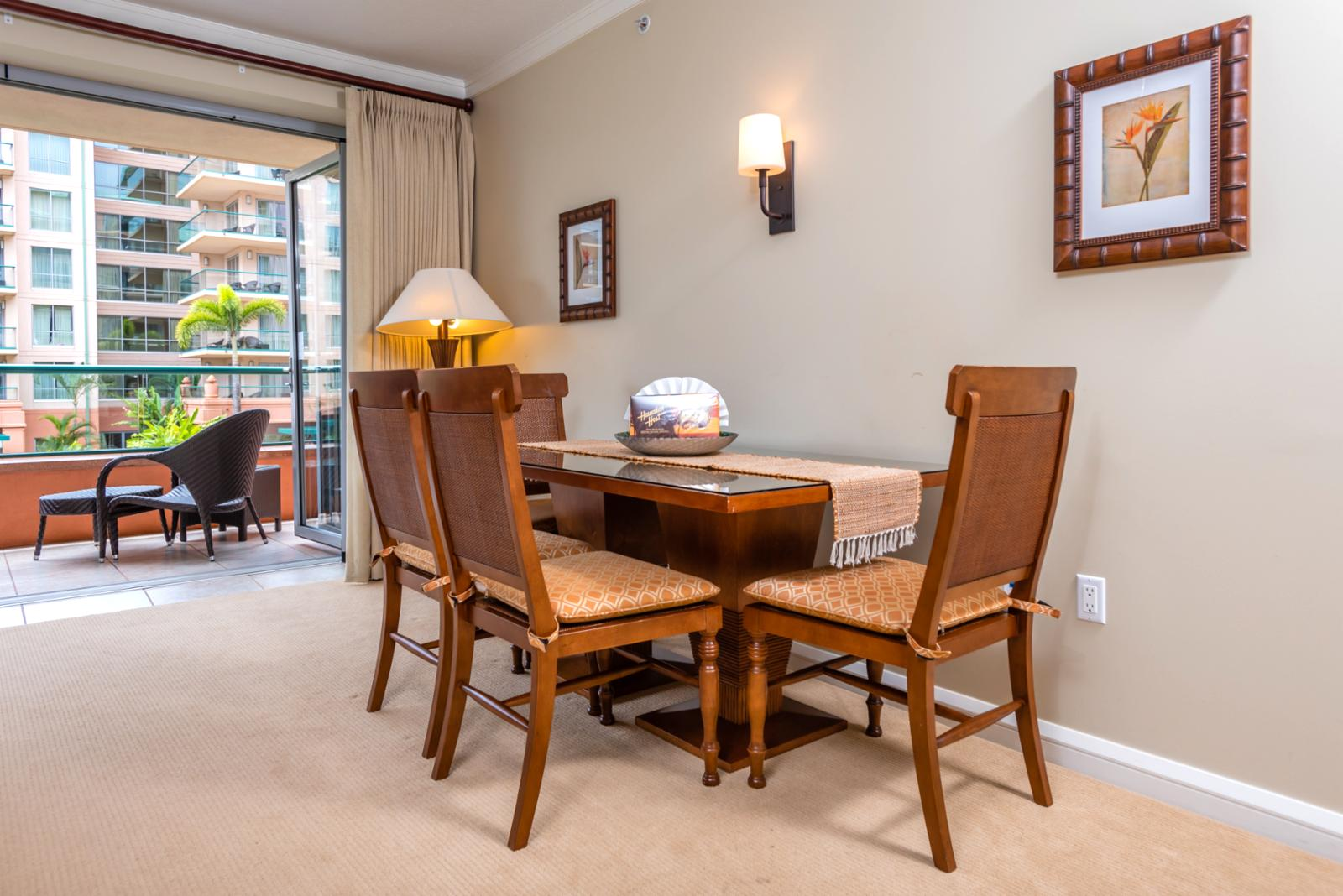 Formal dining room table for 4 showing open entry to balcony
