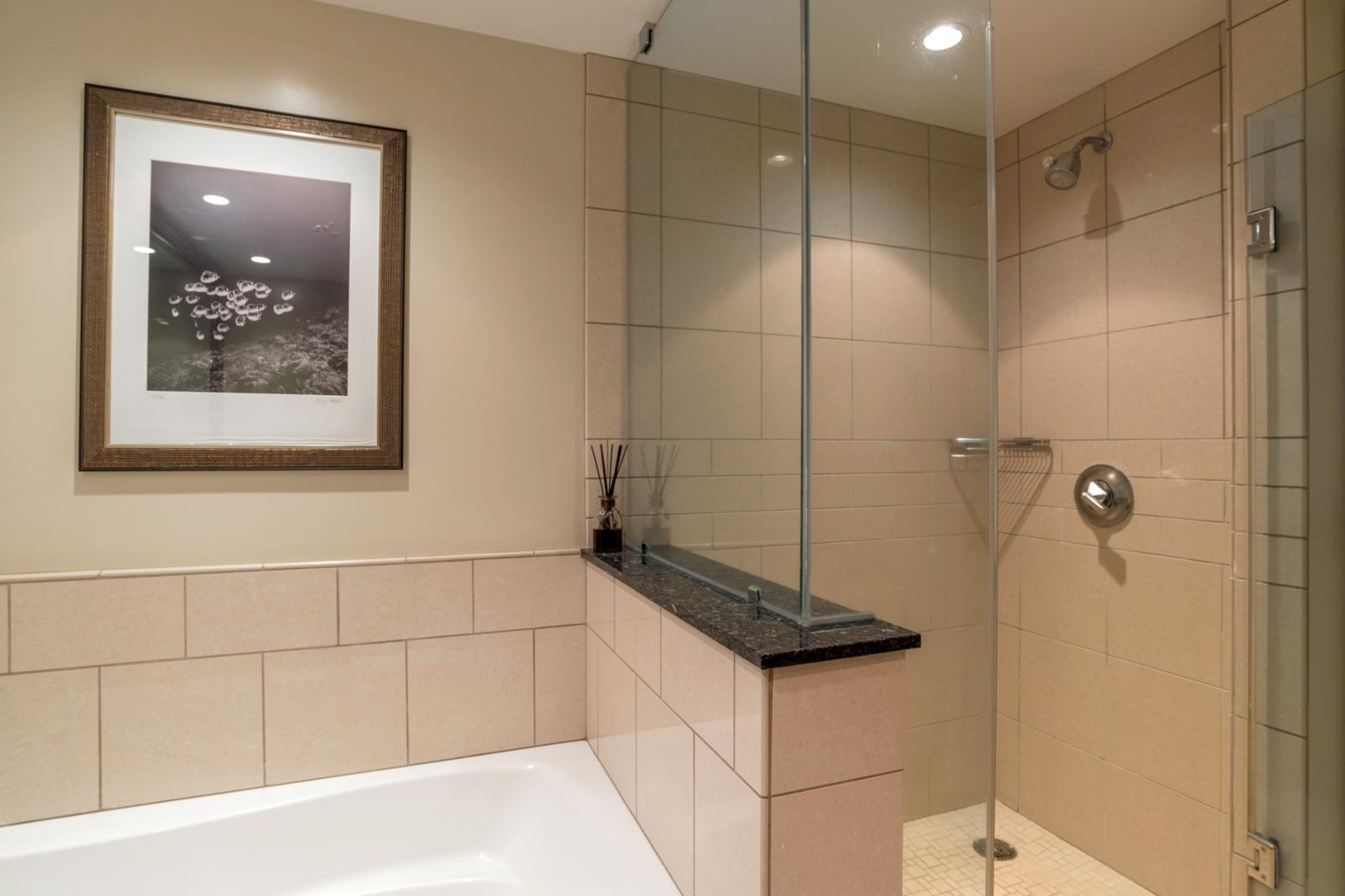 Floor to ceiling glass shower and adjacent soaking tub