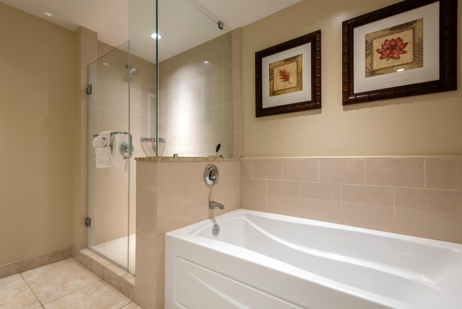 Large floor to ceiling glass shower with perfect bath for soaking and relaxing
