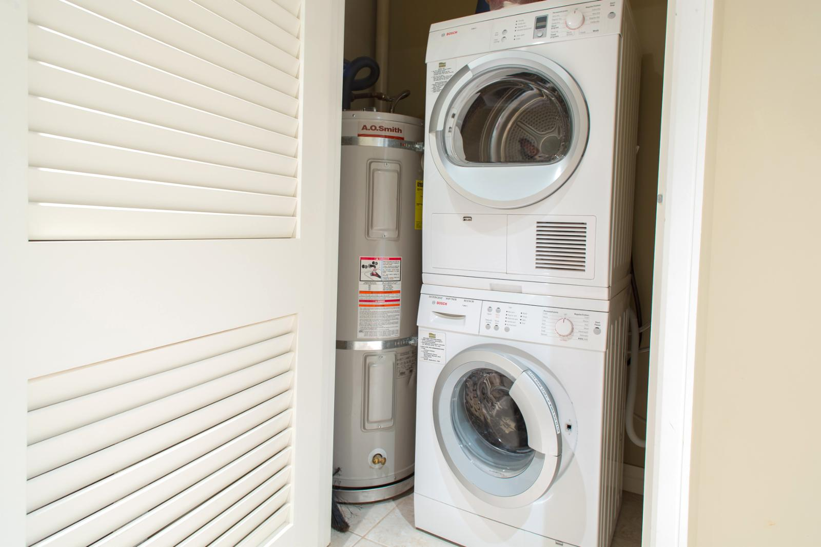 Bosch washer and dryer for your use. The dryer is ventless throughout this resort so allow ample time for drying.