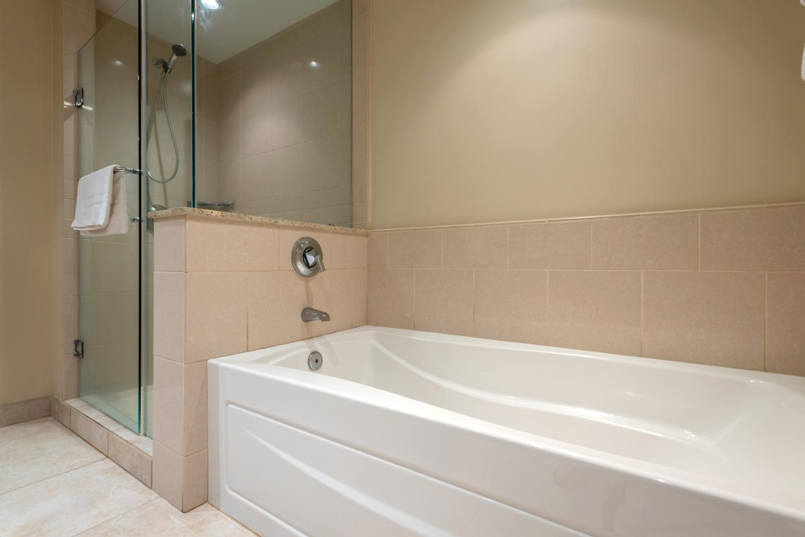 LARGE bathroom includes shower and tub combination
