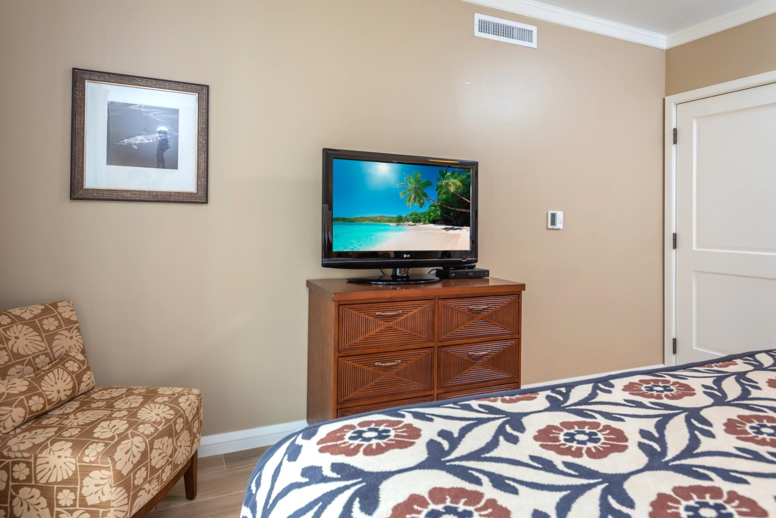 LARGE flatscreen television in LARGE master layout