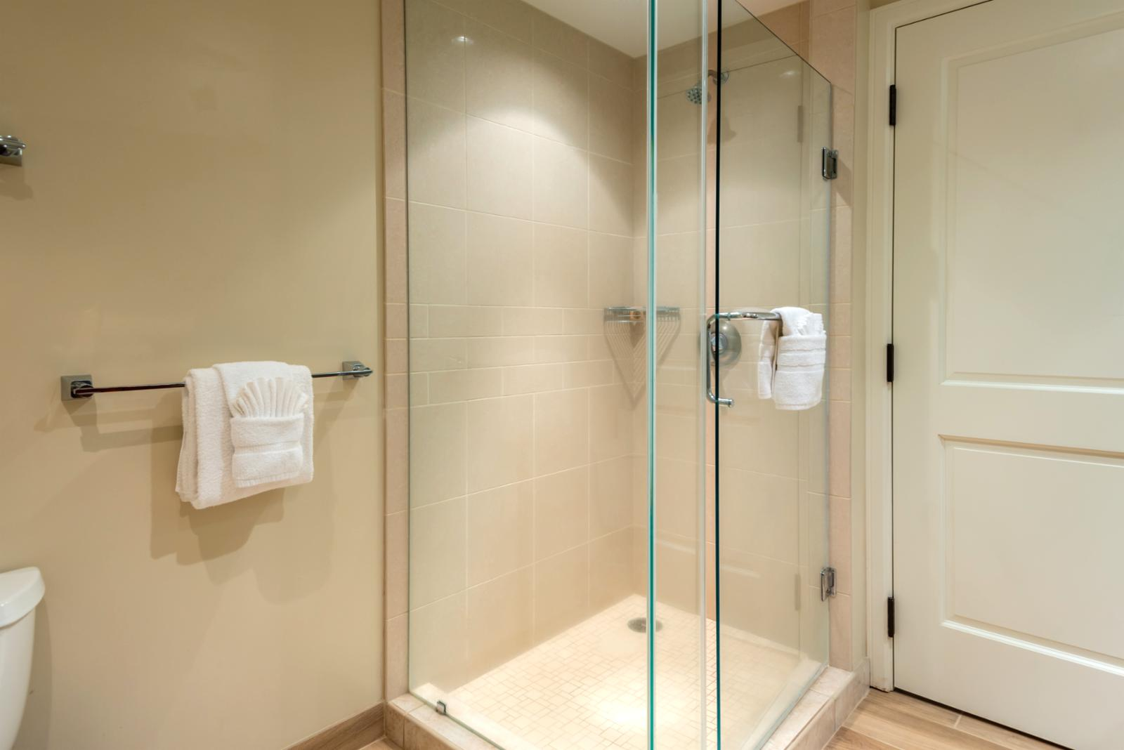 Floor to ceiling LARGE glass enclosed shower with gorgeous lighting accents