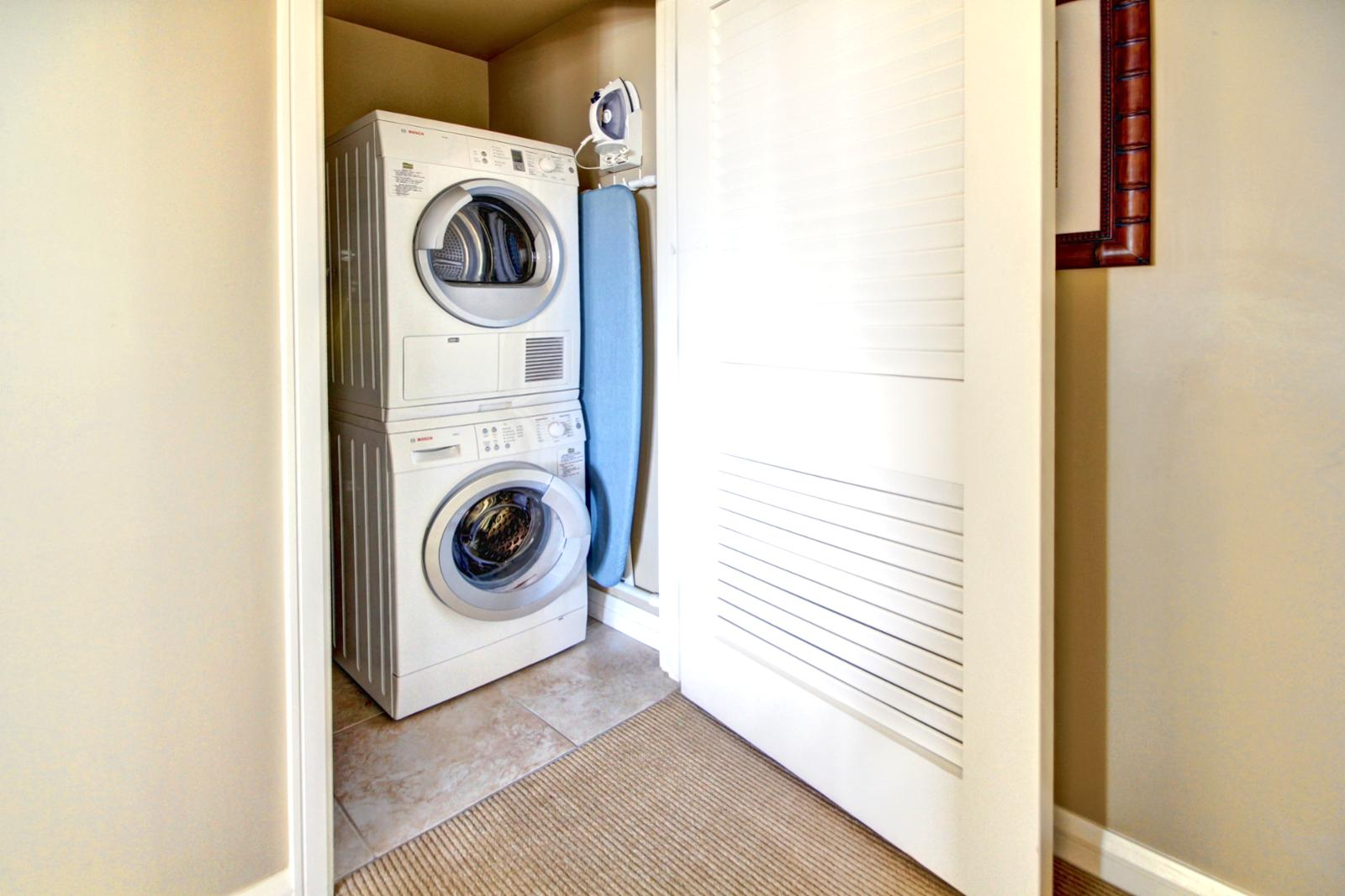 Washer and dryer in unit for your use.