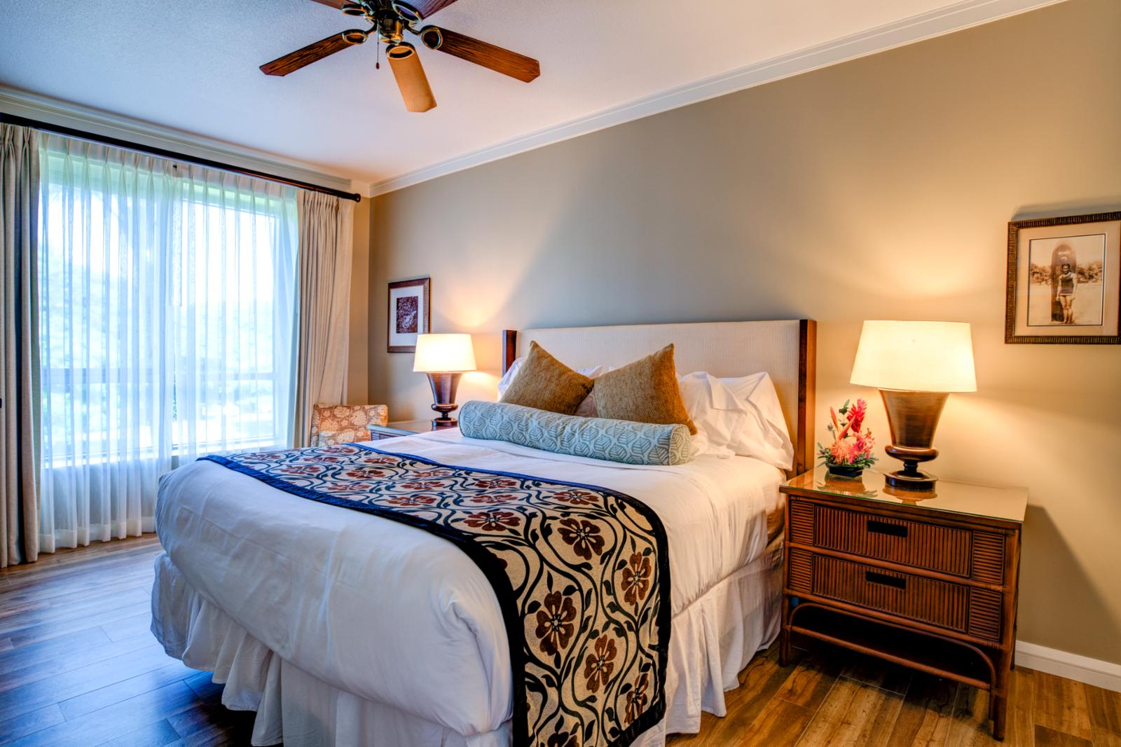 LARGE guest suite with ceiling fan and ample closet storage