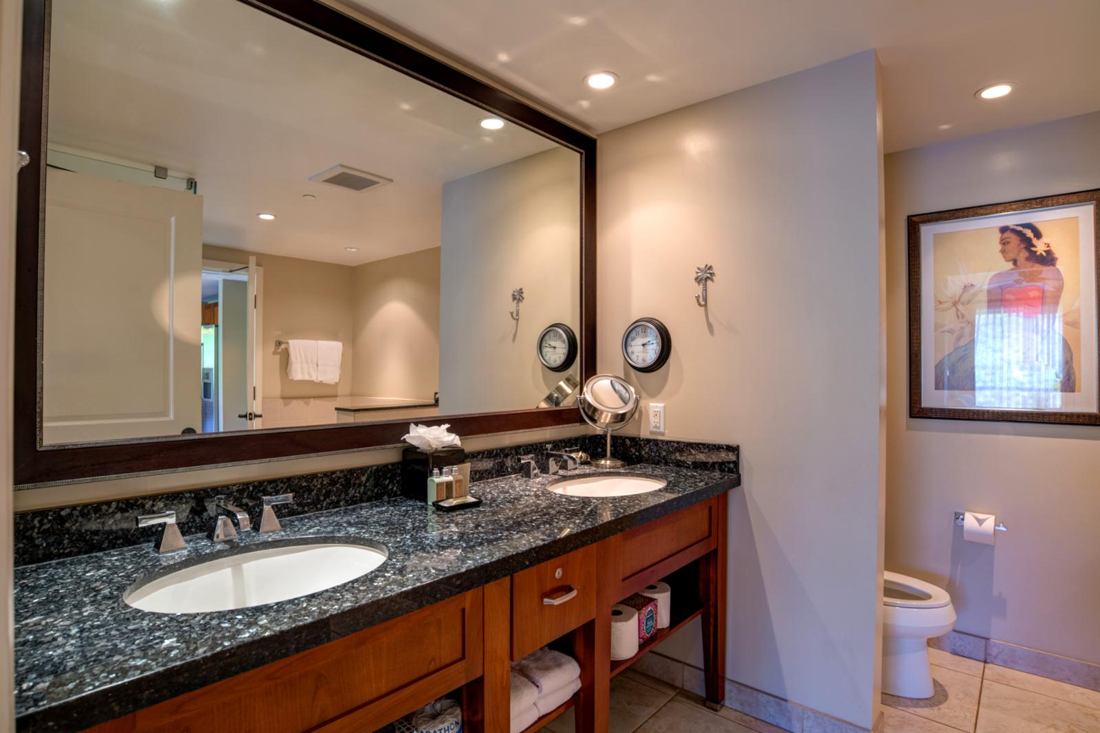 LARGE dual sinks and additional storage space